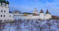 Kremlin (1670-1683) in Rostov the Great, ancient russian town. Ascension. Stock Footage