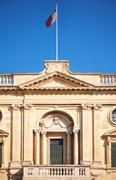 A facade of the National Library of Malta, Valletta Stock Photos
