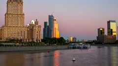 Early Morning on The Moscow River. Stock Footage
