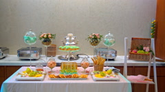 sweet table, food, sweets - stock footage