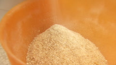 Home Mill Grinds Flour Closeup Stock Footage
