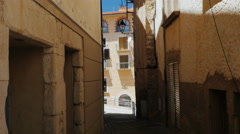 Typical street of a small town in Catalonia, Spain Stock Footage