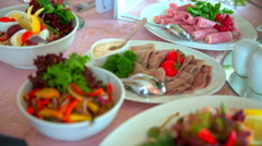 Buffet, table, food, Banquet, fruit, meat, Stock Footage