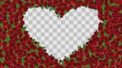 Frame of roses in a heart shape Stock Footage