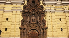 Close up of the architectural detail of the monastery san francisco in lima Stock Footage