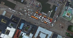 Cinema 4k Aerial down flight above cars and the market squere in Helsinki, Fi Stock Footage