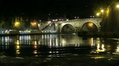 Rome Italy. Night view of a bridge on the River Tiber at Trastevere area. Stock Footage