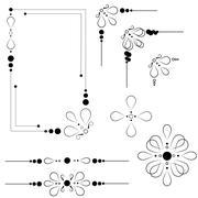 Ornate frame and borders set vector Stock Illustration