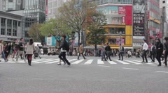 People in a crosswalk in Tokyo Stock Footage