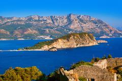 Island St. Nicholas in Budva Montenegro Stock Photos