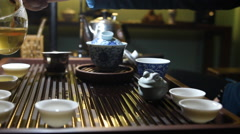 Classical Chinese Tea Ceremony with glass cup Stock Footage