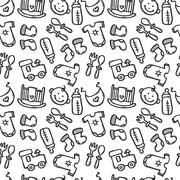 Vector seamless pattern with baby objects. Newborn clothes and accessories se Stock Illustration
