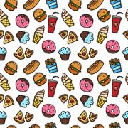 Vector seamless pattern with fast food objects. Junk food and sweets seamless - stock illustration