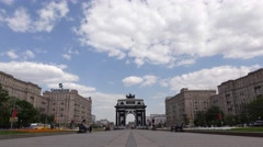 Triumphal Arch of Moscow on Victory Square against blue sky Stock Footage