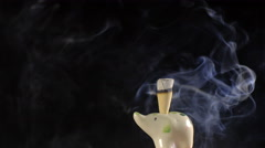 Smoke incense cone in ceramic statuette of elephant loop 4k UHD (3840x2160) - stock footage
