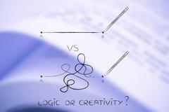 Logic vs creative process, point A to B lines with pencil Stock Illustration