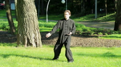 Training in the park. Man practicing elements of tai chi. HD Stock Footage