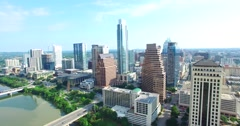 Aerial Footage - Flying Out of Downtown Austin Stock Footage