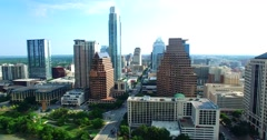 Aerial Footage - Flying In to downtown Austin, TX Stock Footage