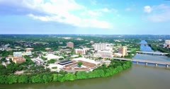 Aerial Footage - Austin, TX flying toward the Hyatt Regency Stock Footage