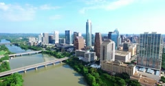Aerial Footage - Flying into downtown Austin, TX toward the Austonian Stock Footage