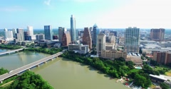 Aerial Footage - Flight toward Congress Ave Bridge Stock Footage