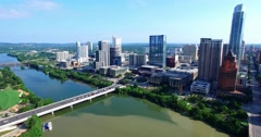 Aerial Footage - Reverse flight out of downtown Austin, TX Stock Footage