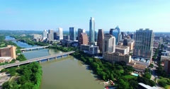 Aerial Footage - Continued Flight into downtown Austin, TX Stock Footage