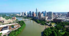 Aerial Footage - Larger view of downtown Austin, TX Stock Footage