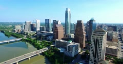 Aerial Footage - Third section of flight toward downtown Austin, TX Stock Footage