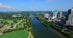 Aerial Footage - Flight Across Lady Bird Lake Toward Lamar Blvd. Stock Footage