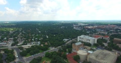 Aerial Footage - Flying North over UT Grounds in Austin, TX Stock Footage