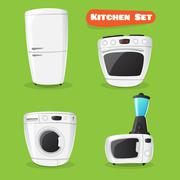 Vector kitchen appliance collection. Fridge, stove, microwave oven, washing m Stock Illustration