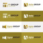 Vector minimalistic negative space greek letters logo set Stock Illustration