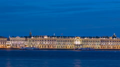 The Palace embankment and the Winter Palace timelapse June night. St. Petersburg Stock Footage