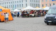 HELSINKI, UUSIMAA, FINLAND, JULY 3 Time-lapse of people walking around on hel Arkistovideo