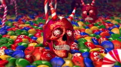 Skull and candies. Seamless animation background. Stock Footage