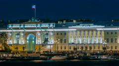 Building of the Russian constitutional court timelapse, Monument to Peter I - stock footage
