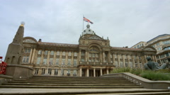 Birmingham, England - Victoria Square. Wide of the Council House & steps Stock Footage