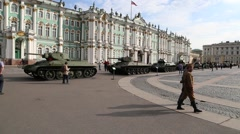 Soviet tanks and other military equipment of times of World War II Stock Footage
