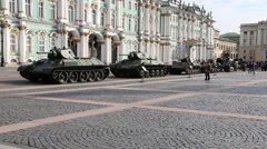 Soviet military equipment of times of World War II on Palace Square Stock Footage