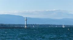 Sail boats on lake Geneva time lapse - stock footage