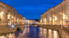 Night view of the Moyka River Quay with bridge timelapse. Saint Petersburg Stock Footage