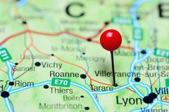 Tarare pinned on a map of France Stock Photos