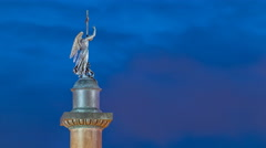 Statue of angel on the Alexandria column on Palace Square night timelapse - stock footage