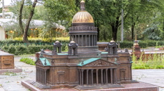 Mini City in the Alexander Park. Layout of St. Isaac's Cathedral timelapse Stock Footage