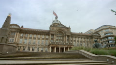Birmingham, England - Victoria Square. Static wide of the Council House & steps Stock Footage