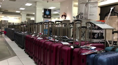 One side of display luggages inside The Bay store Stock Footage