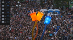 Crowd of people at Le Festival d'ete concert in Quebec City, Canada. Stock Footage
