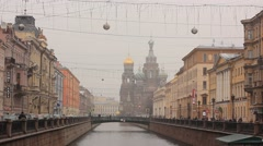 View on Church of the Savior on Spilled Blood in St. Petersburg in winter Stock Footage